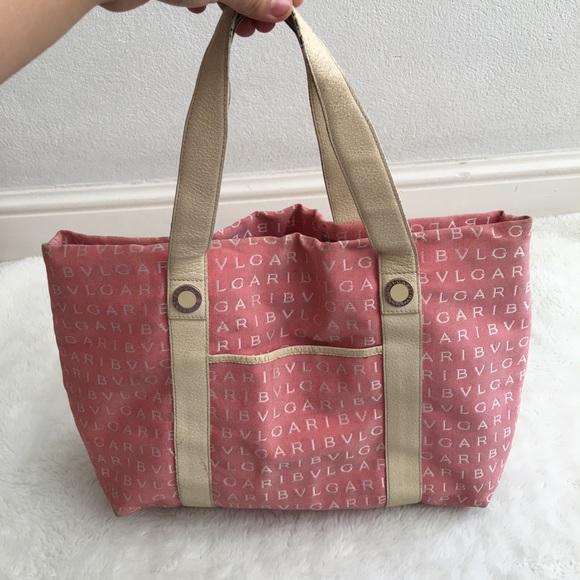 Bulgari Handbags - Bulgari Canvas Leather Monogrammed Tote Bag Pink